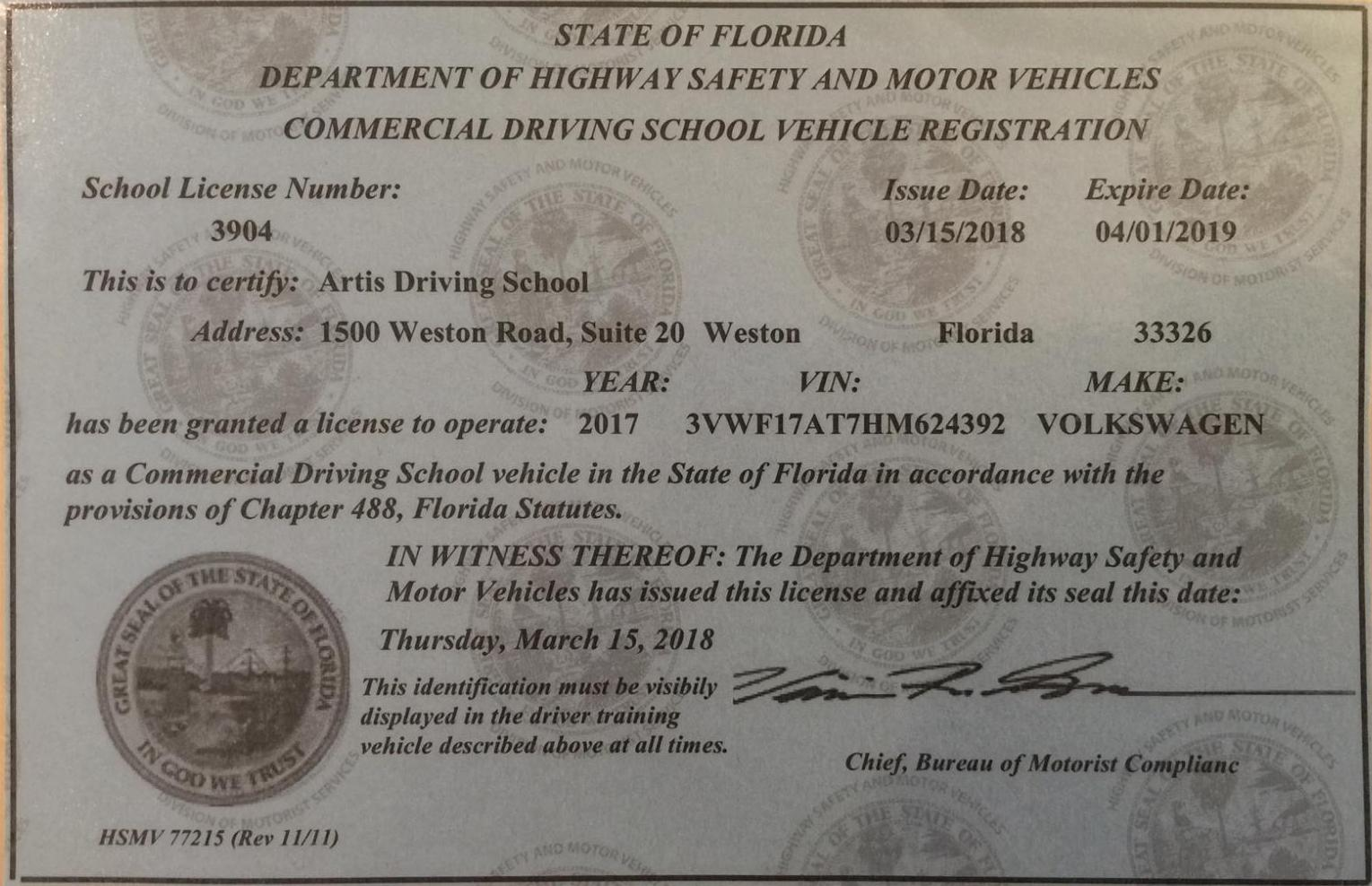 Artis driving for Florida department of motor vehicles drug and alcohol test